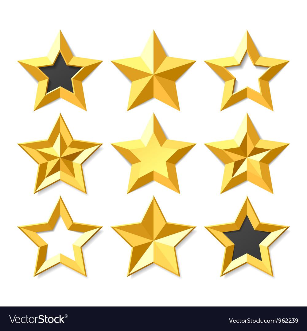 Gold stars set vector