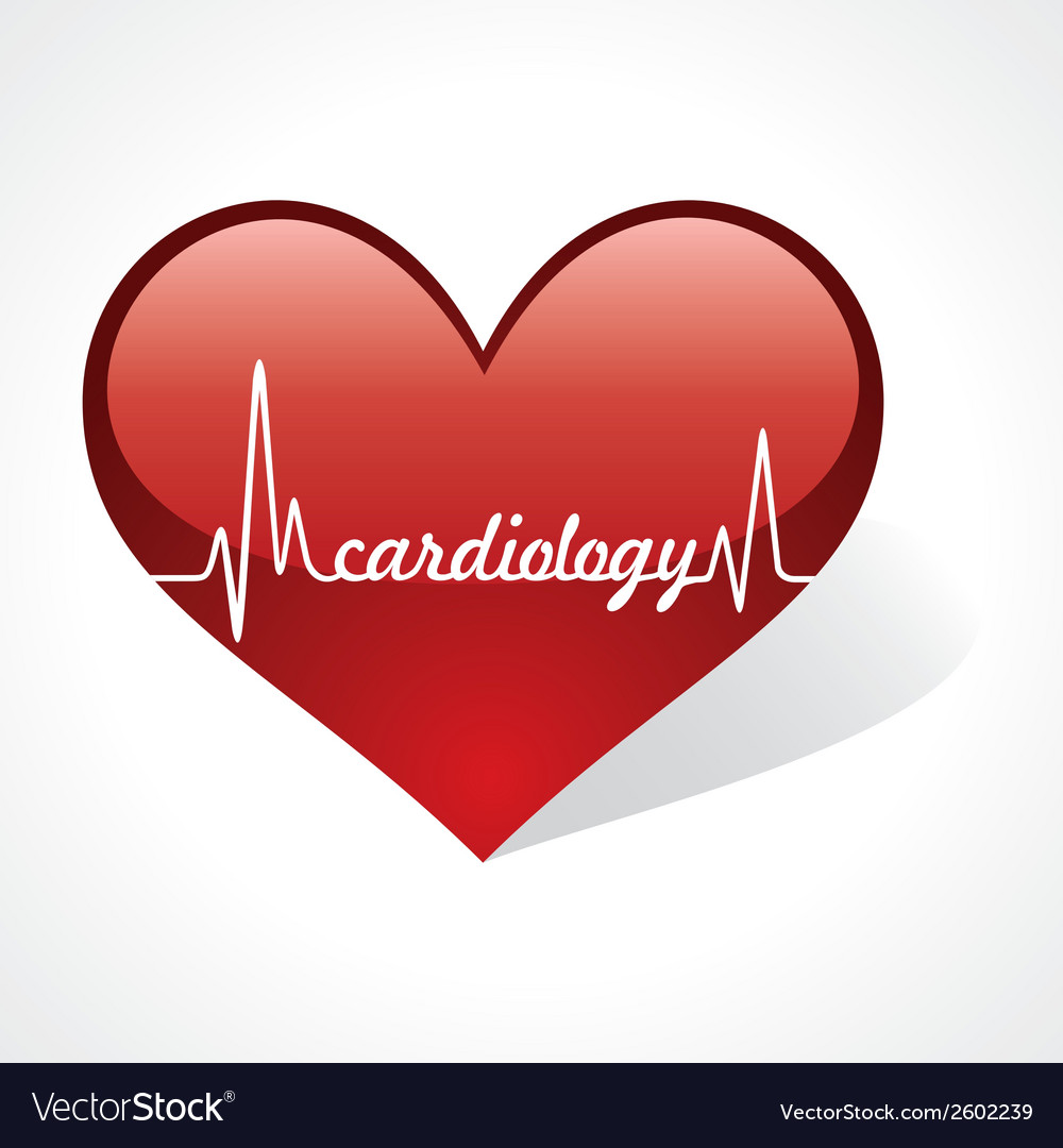 Heartbeat make cardiology word in heart vector | Price: 1 Credit (USD $1)