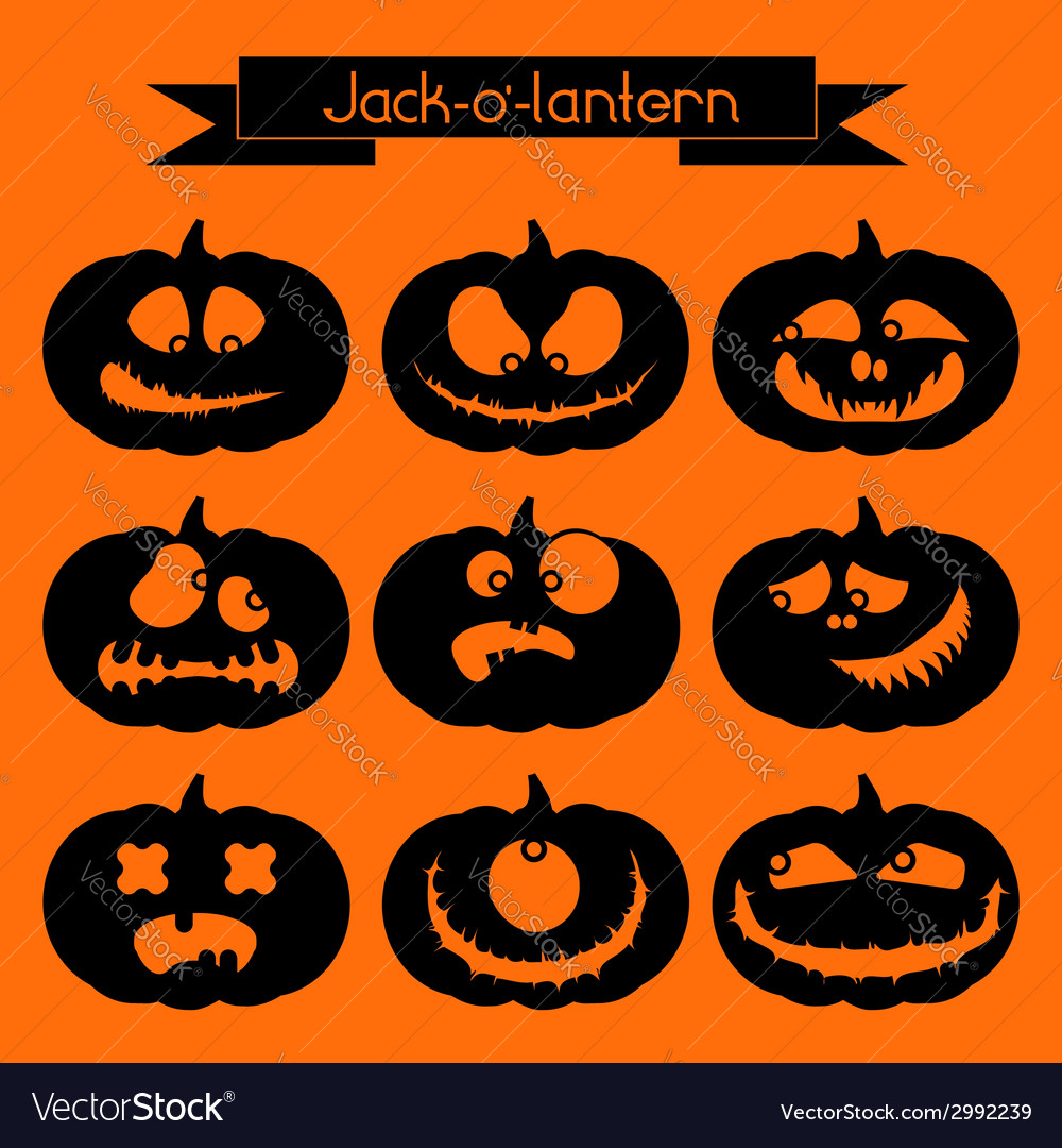 Jack-o-lantern set of 9 decorative elements vector | Price: 1 Credit (USD $1)
