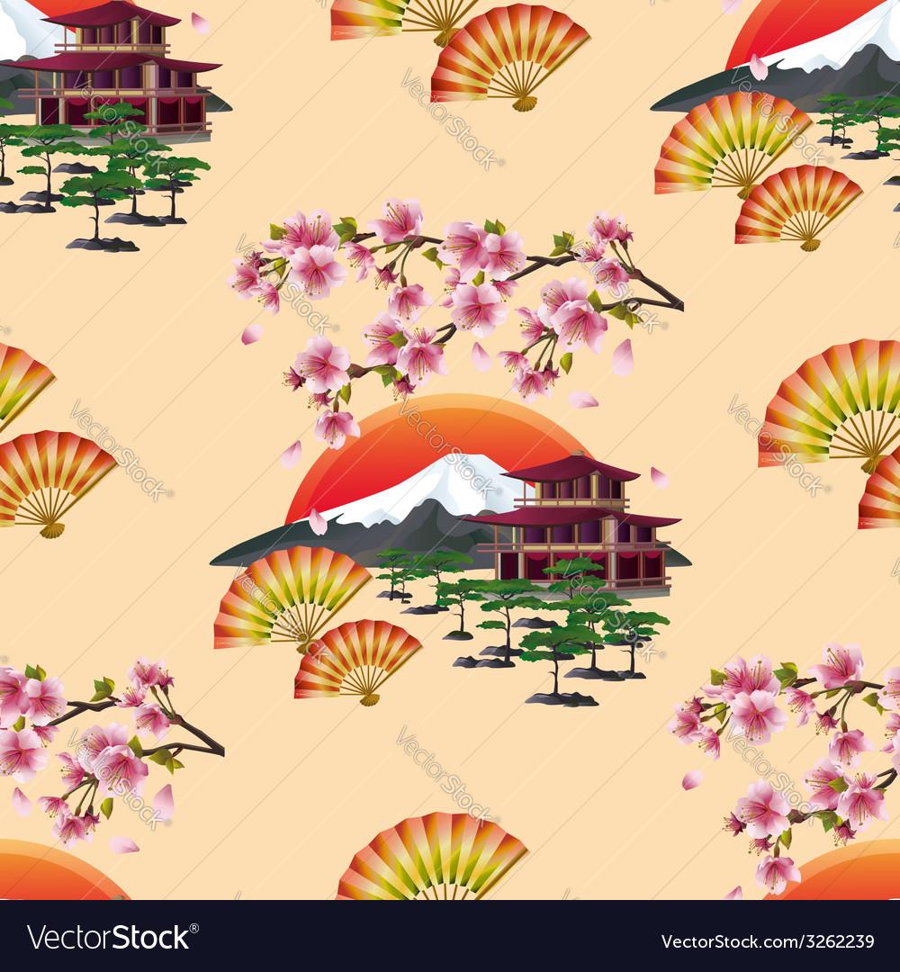 Japanese decorative seamless pattern with sakura vector