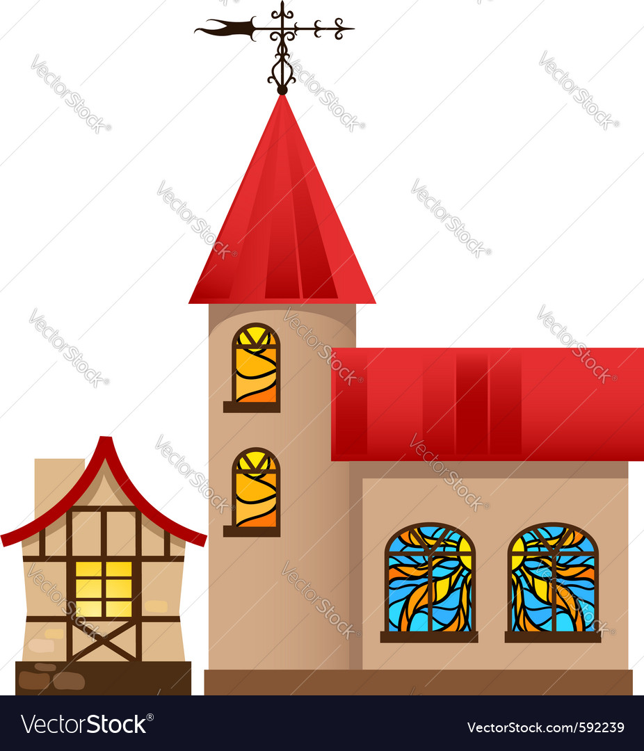 Medieval house and church vector | Price: 1 Credit (USD $1)