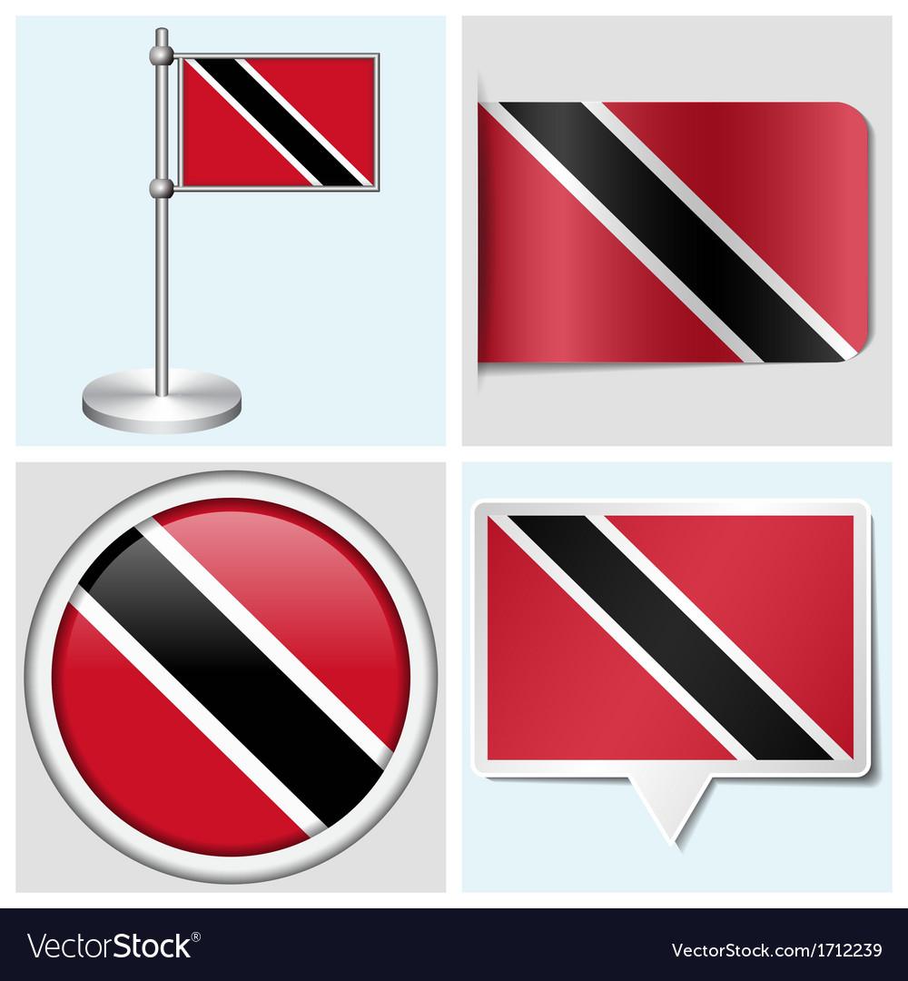 Trinidad and tobago flag - sticker button label vector   Price: 1 Credit (USD $1)