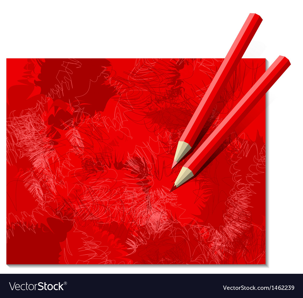 Two red pencils vector | Price: 1 Credit (USD $1)