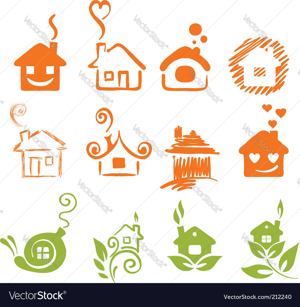 A set of abstract houses vector | Price: 1 Credit (USD $1)