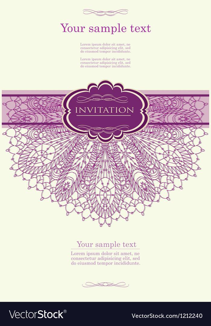 Beautiful purple invitation card vector | Price: 1 Credit (USD $1)