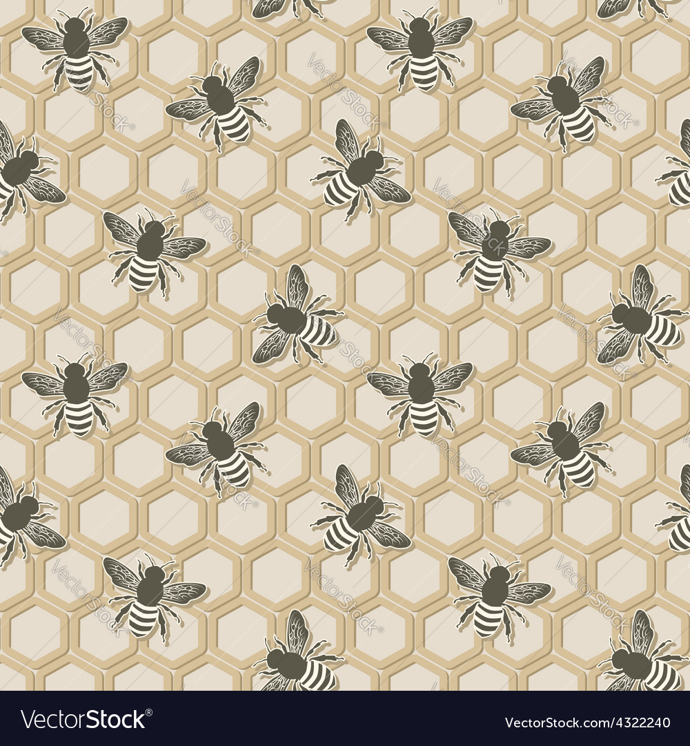 Bee seamless pattern vector