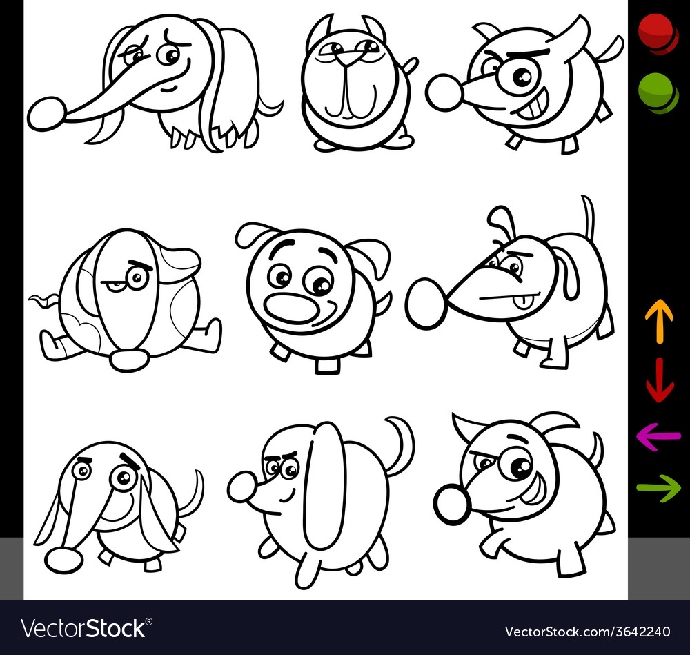 Dogs game characters coloring page vector | Price: 1 Credit (USD $1)