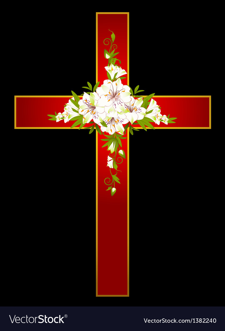 Flowers and a cross vector | Price: 1 Credit (USD $1)