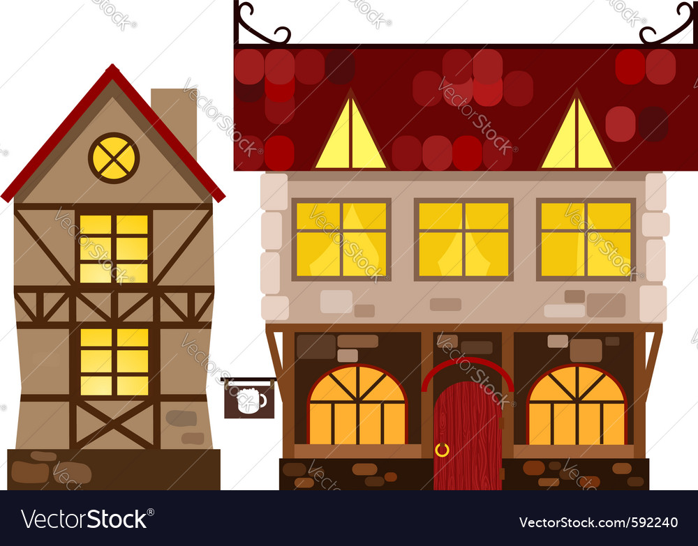 Medieval house and tavern vector | Price: 1 Credit (USD $1)