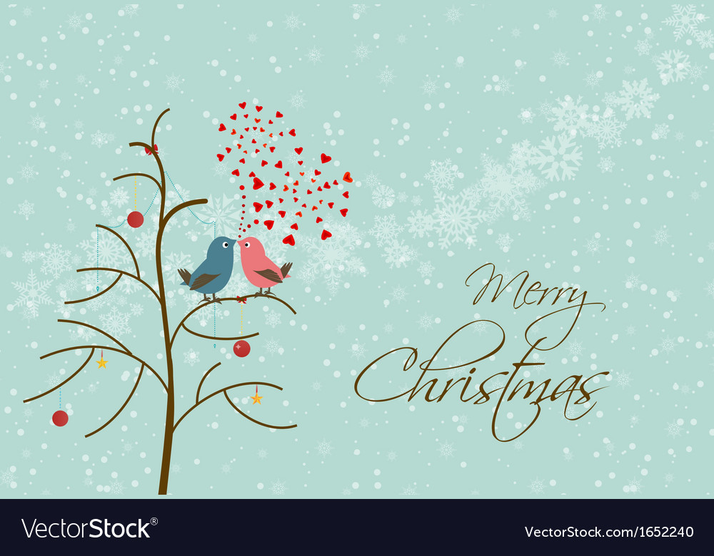 Merry christmas card with many bird vector | Price: 1 Credit (USD $1)