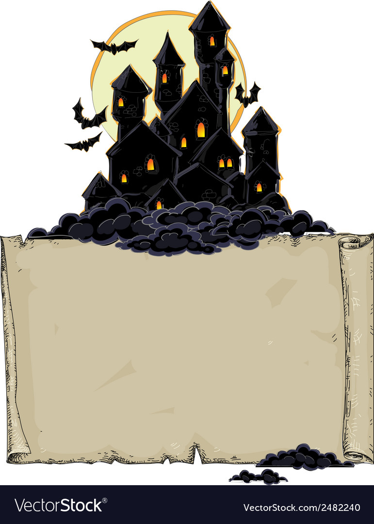 Paper background with black castle vector | Price: 1 Credit (USD $1)