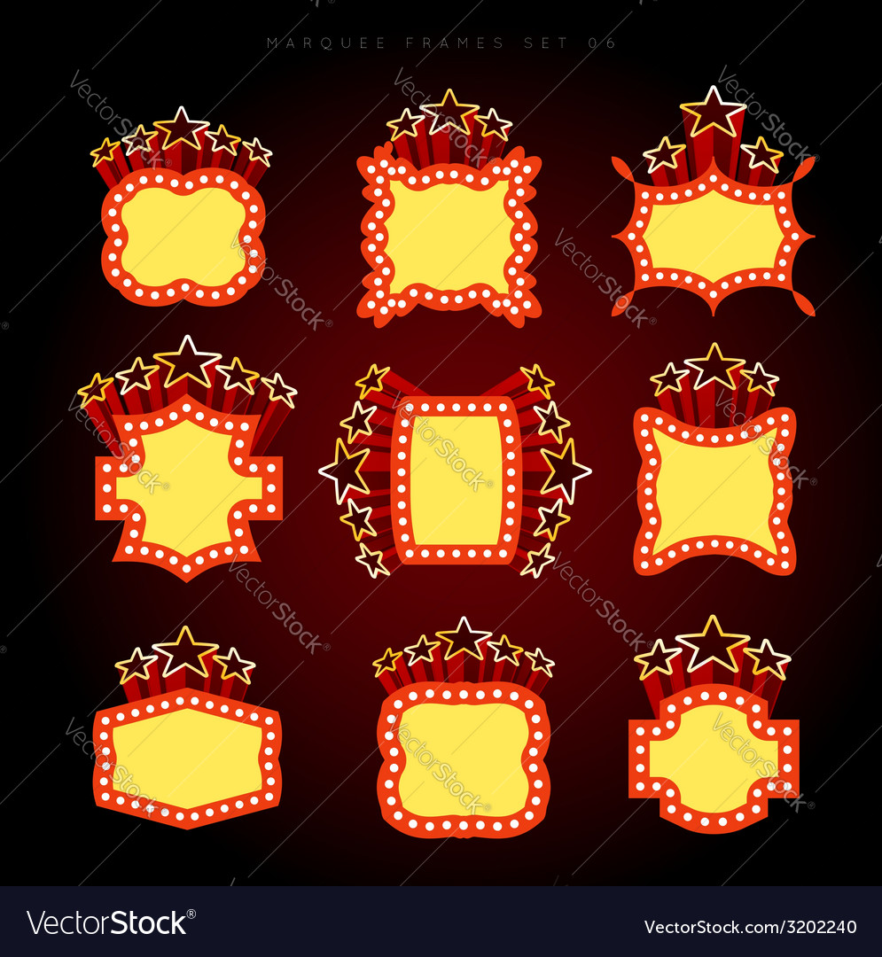 Retro illuminated movie marquee set vector | Price: 1 Credit (USD $1)