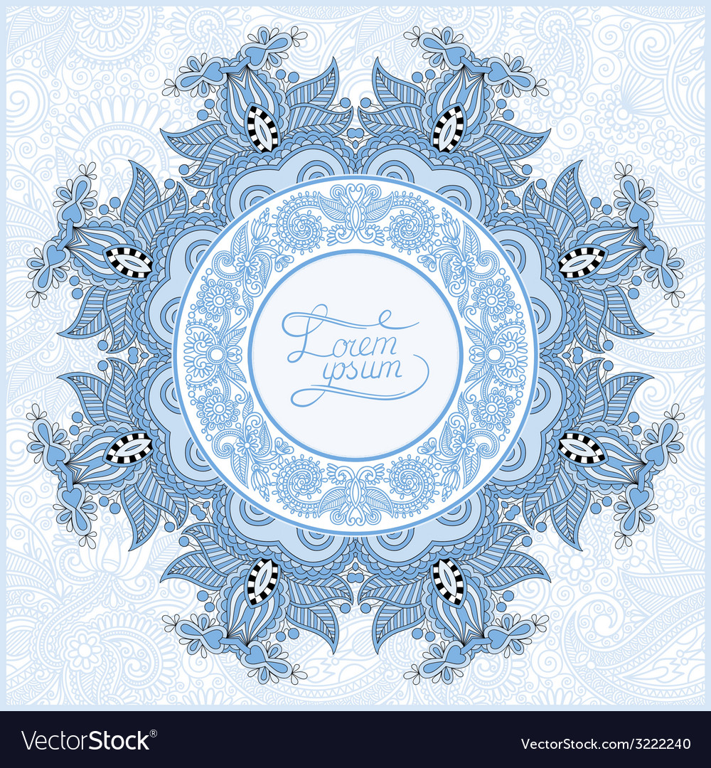 Round ornamental frame blue colour circle floral vector | Price: 1 Credit (USD $1)