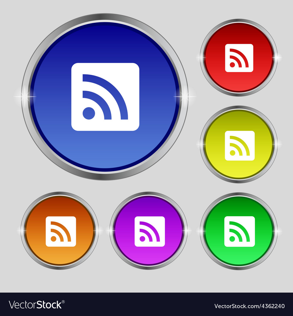 Rss feed icon sign round symbol on bright vector | Price: 1 Credit (USD $1)