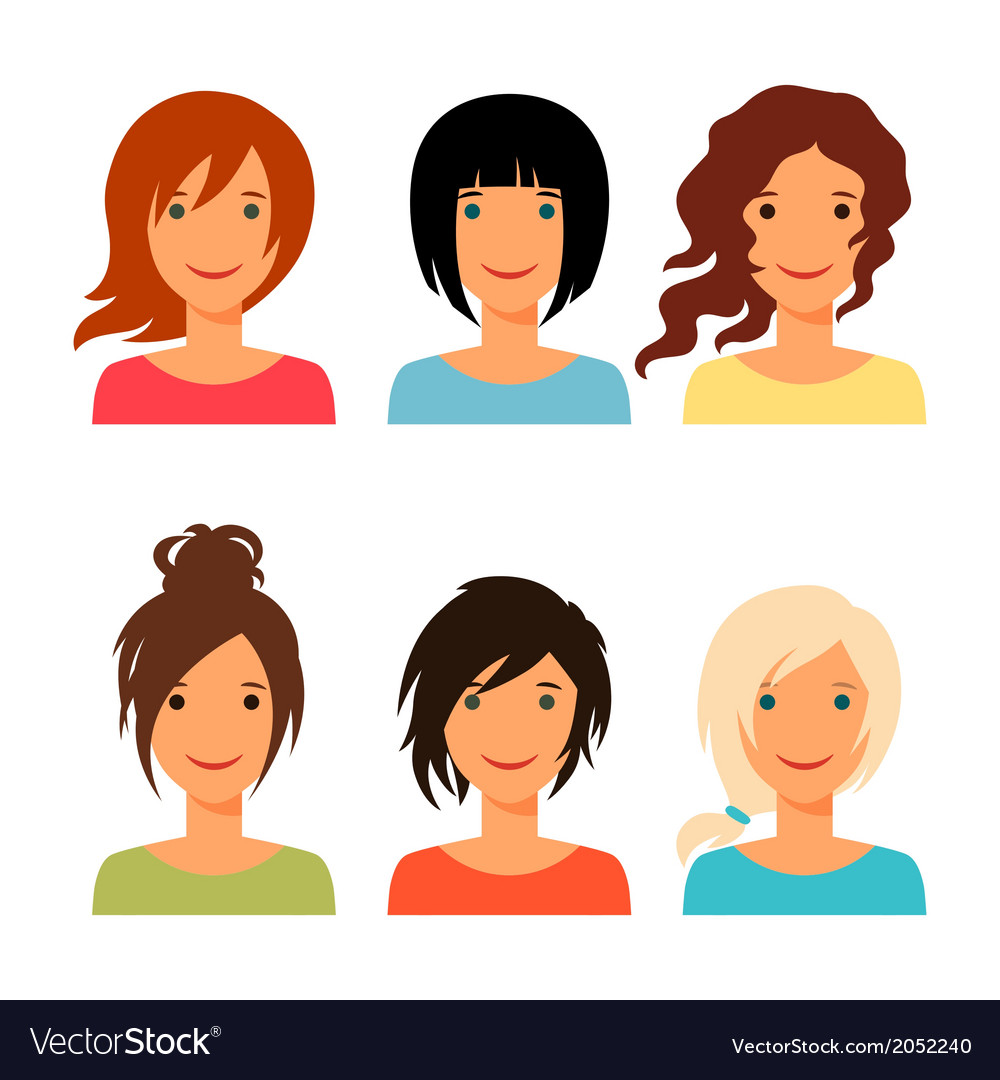 Set of beautiful young girls with various hair vector | Price: 1 Credit (USD $1)