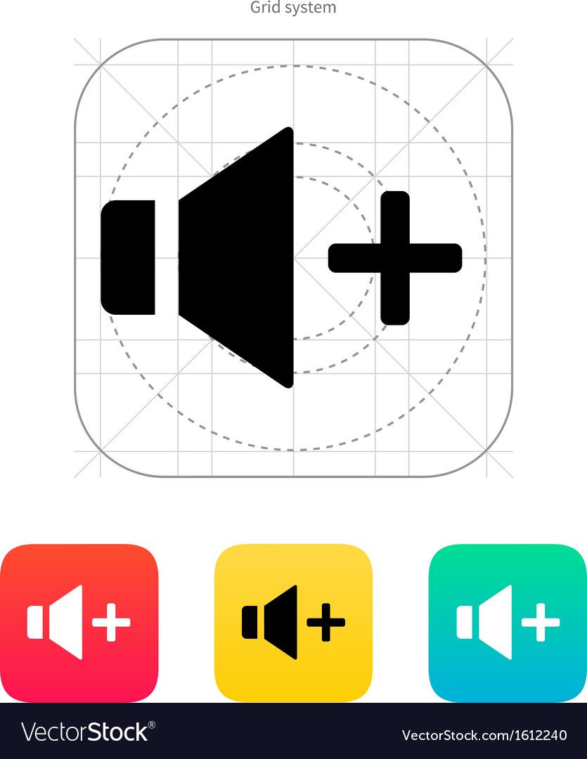 Speaker icon volume plus vector   Price: 1 Credit (USD $1)