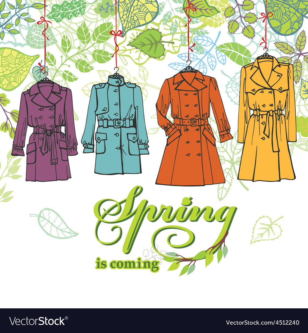 Spring fashion woman coats setleaves decor vector | Price: 1 Credit (USD $1)