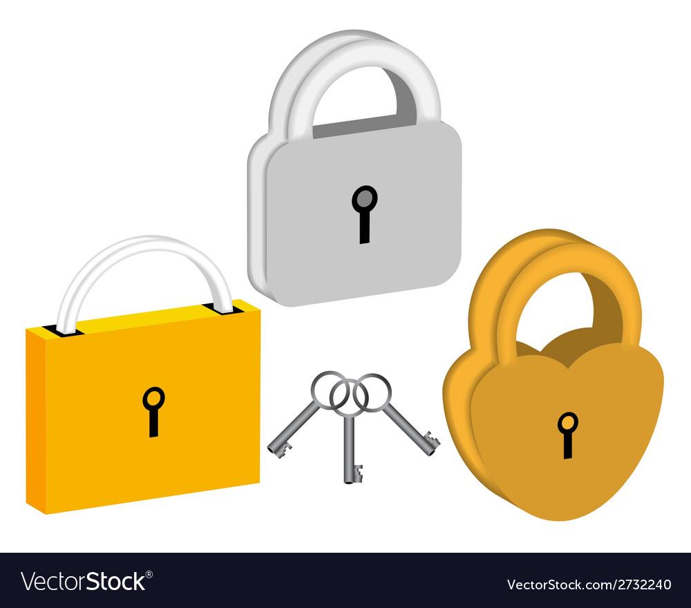 Three padlocks vector | Price: 1 Credit (USD $1)