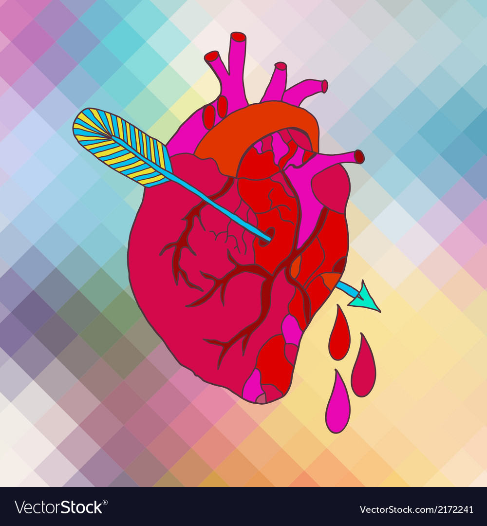 Anatomical heart with arrow vector | Price: 1 Credit (USD $1)