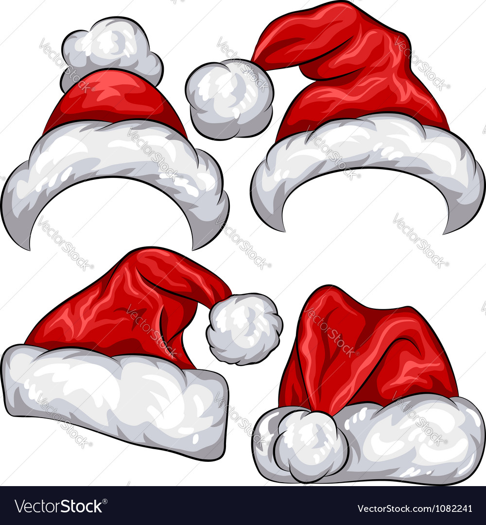 Christmas santa claus hats vector | Price: 1 Credit (USD $1)