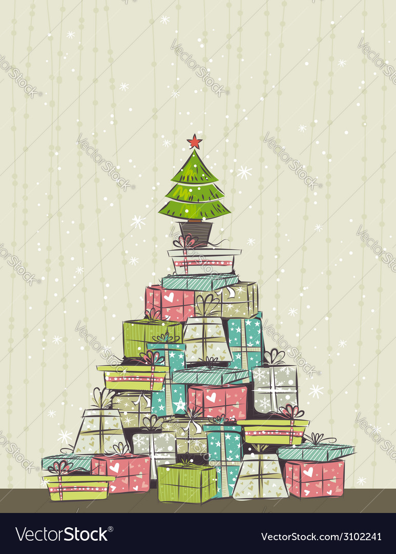 Color background with christmas present and one tr vector | Price: 1 Credit (USD $1)