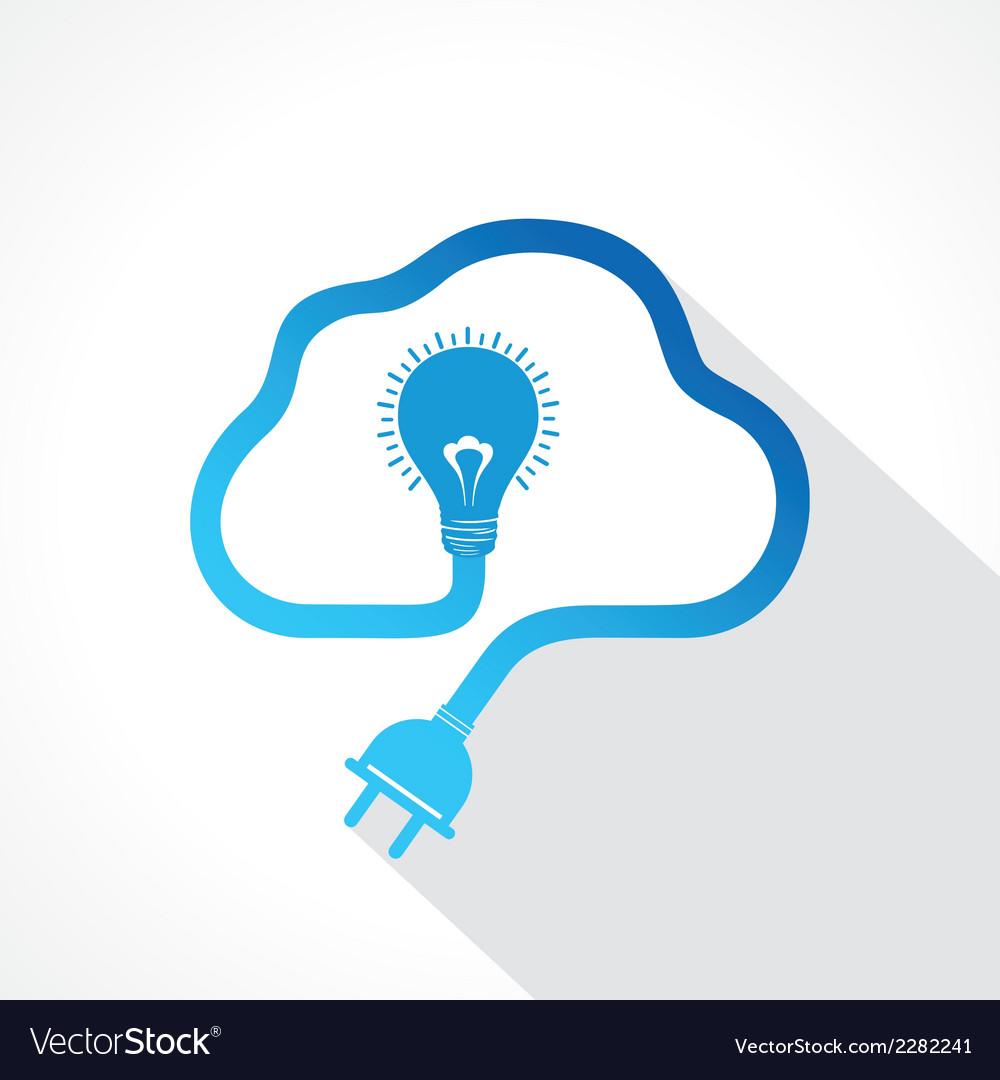Creative bulb plug design cloud shape concept vector | Price: 1 Credit (USD $1)