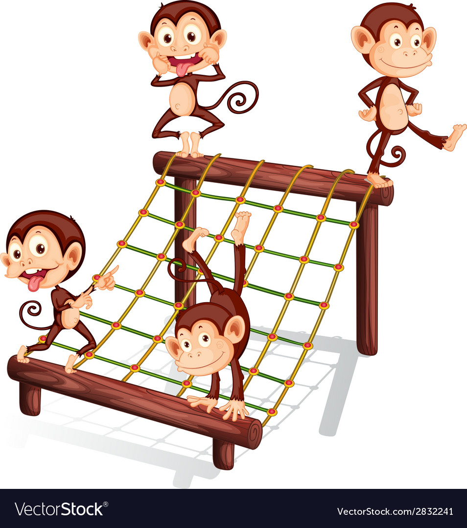 Four playful monkeys vector | Price: 1 Credit (USD $1)
