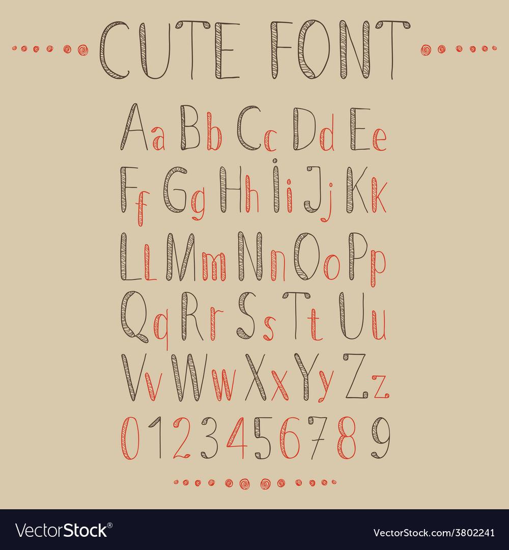 Hand drawn alphabet in retro style vector | Price: 1 Credit (USD $1)