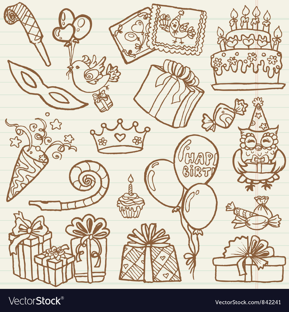 Hand drawn birthday celebration vector | Price: 1 Credit (USD $1)