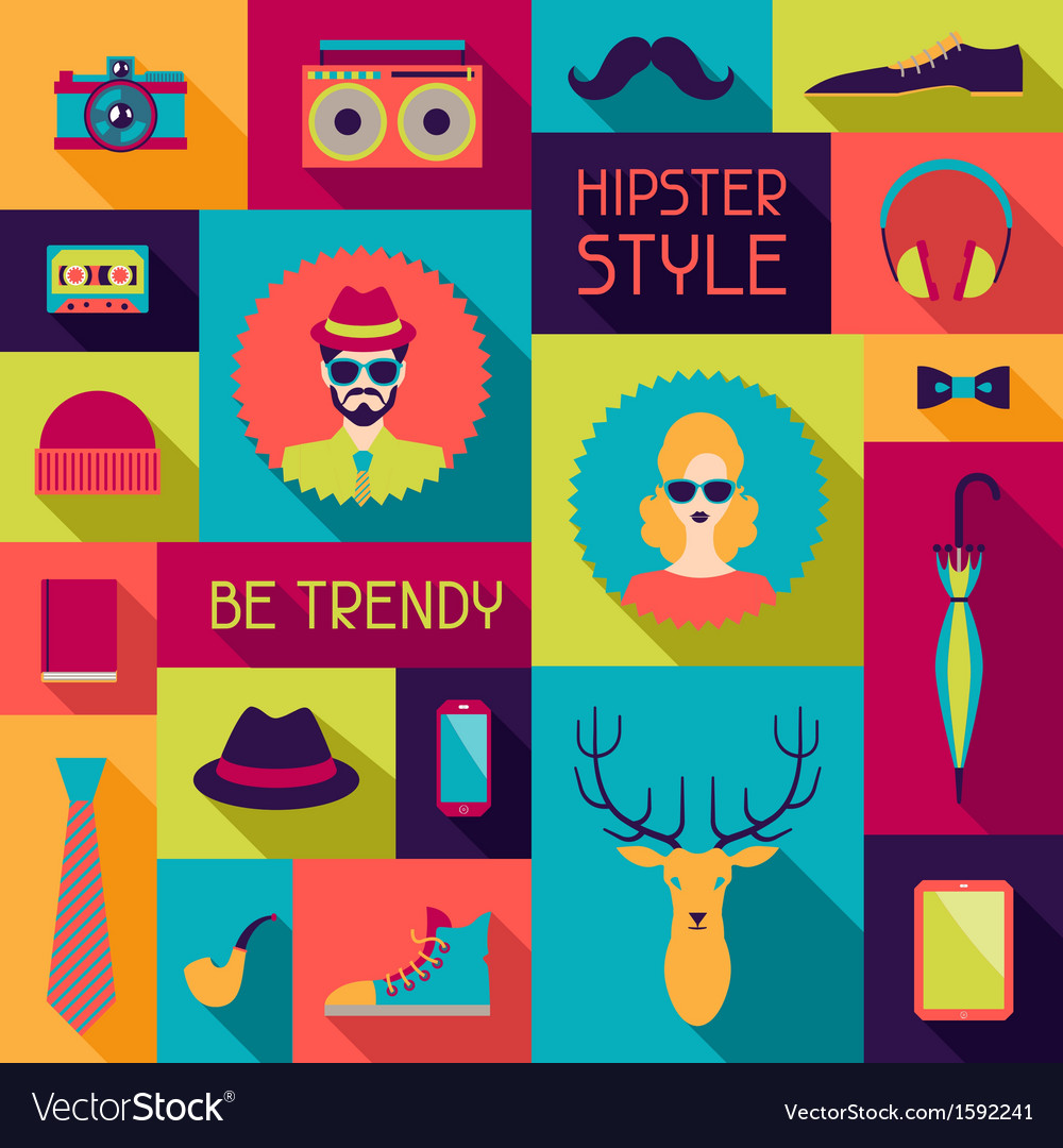 Hipster background in flat design style vector | Price: 1 Credit (USD $1)