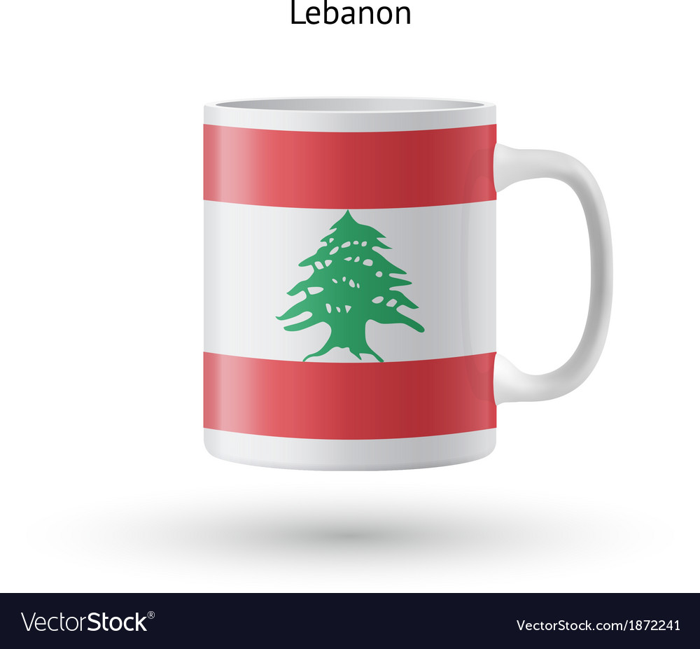 Lebanon flag souvenir mug on white background vector   Price: 1 Credit (USD $1)
