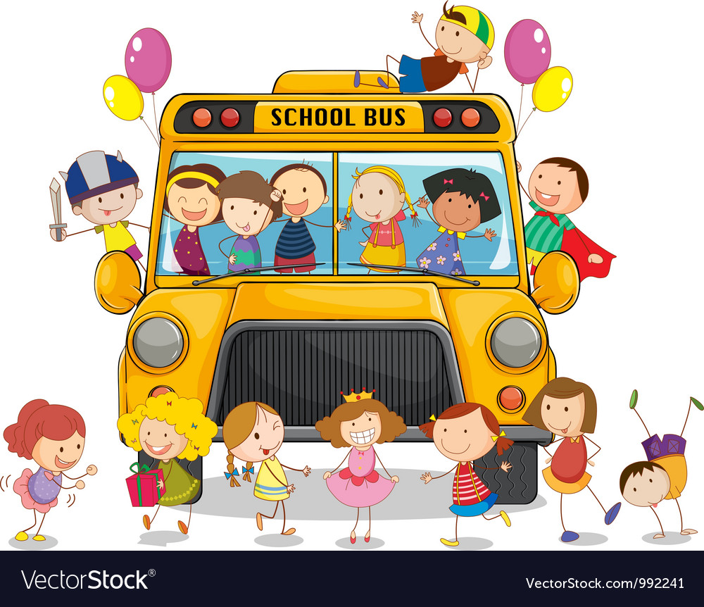 School bus kids vector | Price: 1 Credit (USD $1)
