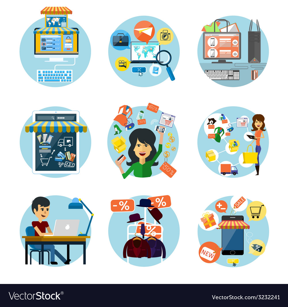 Set of flat online shopping and banking concepts vector   Price: 1 Credit (USD $1)