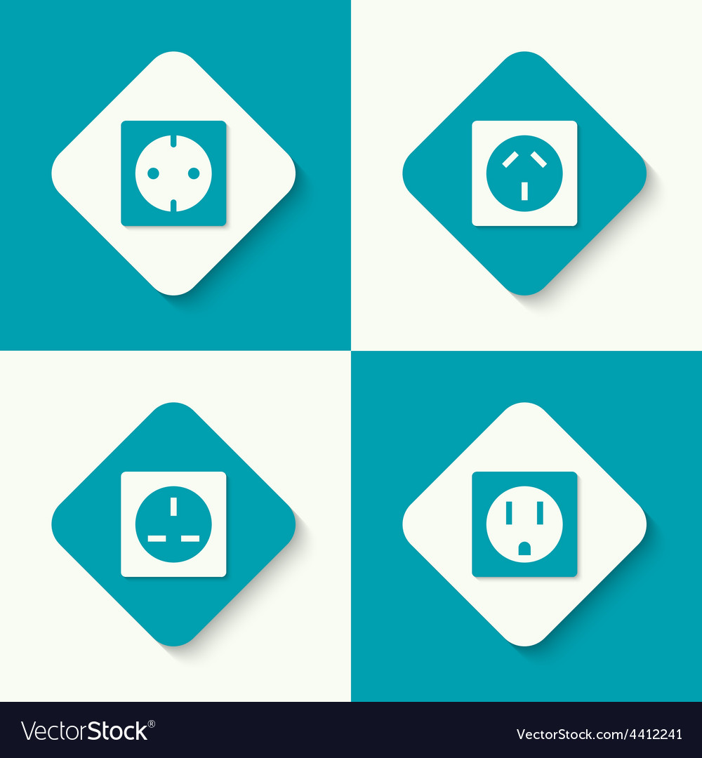 Set of icons electrical sockets vector | Price: 1 Credit (USD $1)