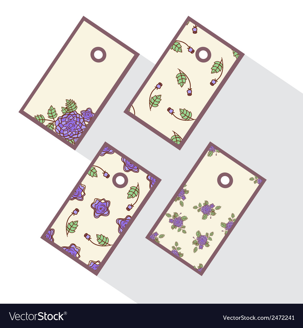 Set of tags with abstract roses vector | Price: 1 Credit (USD $1)