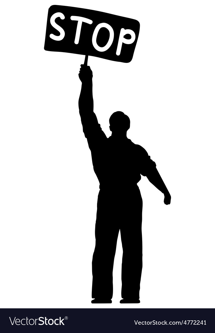 Silhouette of a man with a banner vector | Price: 1 Credit (USD $1)