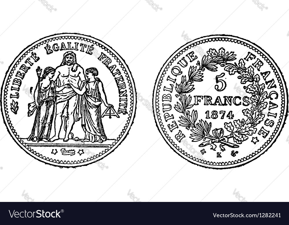 Silver francs vintage engraving vector | Price: 1 Credit (USD $1)
