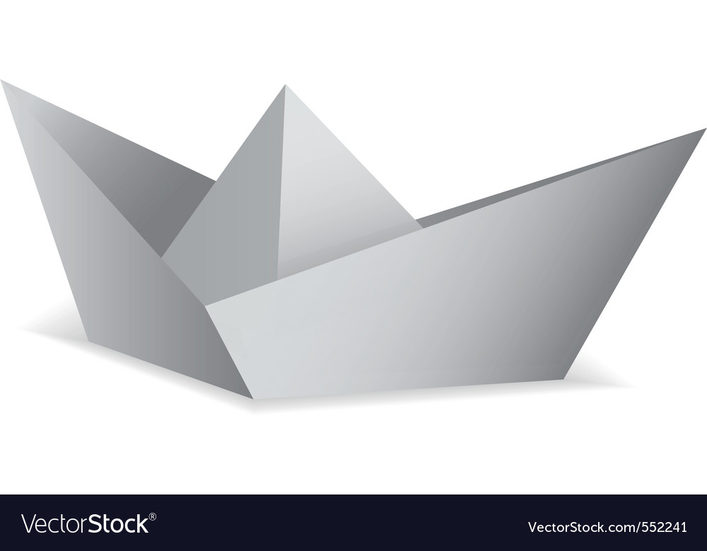 White paper boat folded origami concept vector | Price: 1 Credit (USD $1)