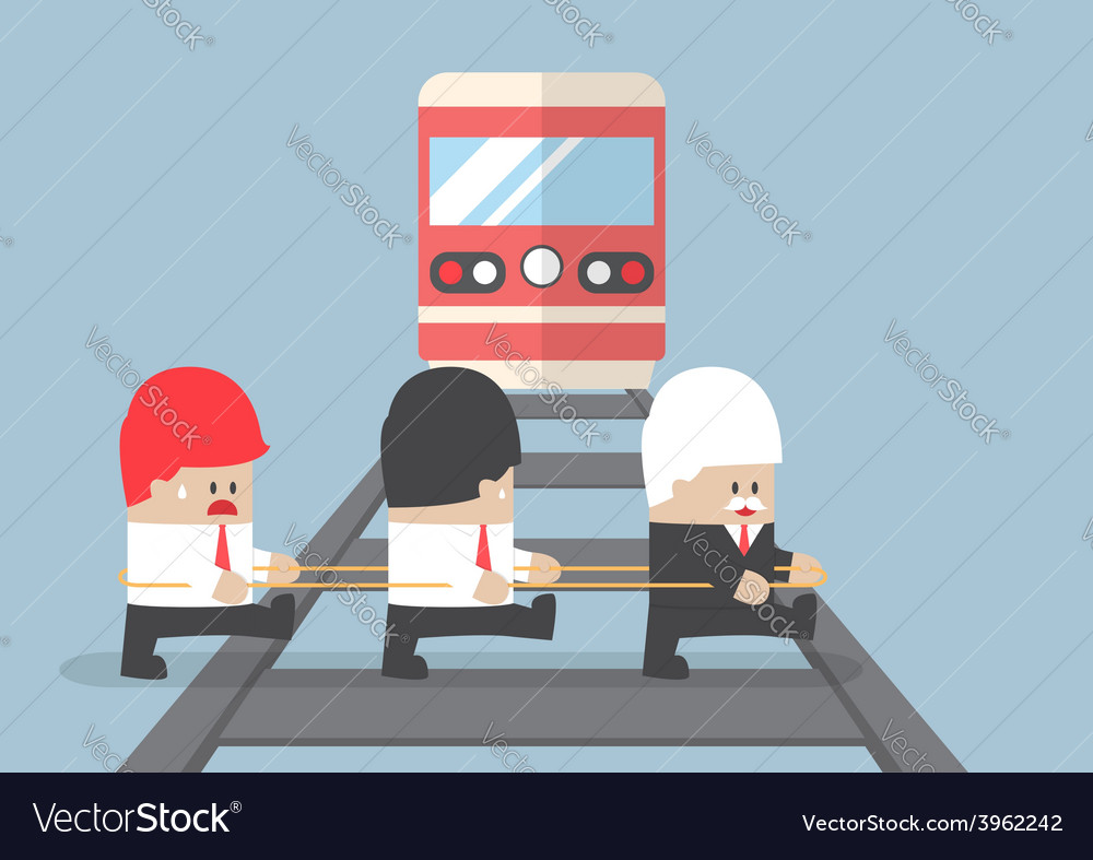 Business leader crossing railroad vector | Price: 1 Credit (USD $1)