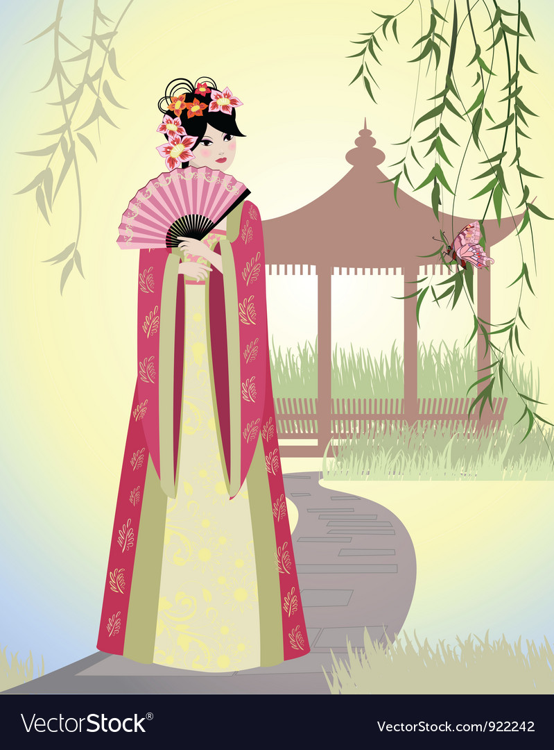 China girl vector | Price: 3 Credit (USD $3)