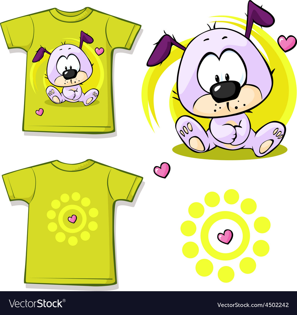 Cute puppy printed on shirt vector   Price: 1 Credit (USD $1)