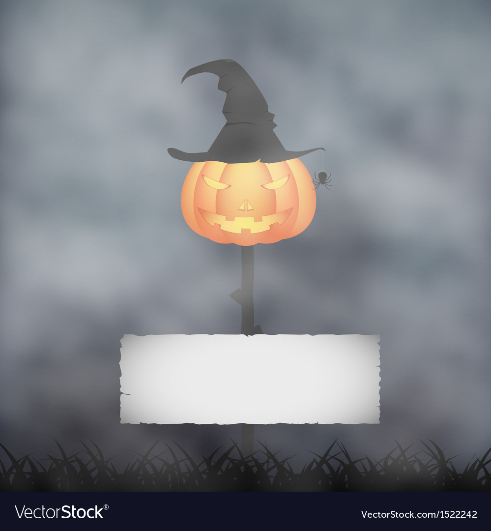 Halloween pumpkin in fog vector | Price: 1 Credit (USD $1)