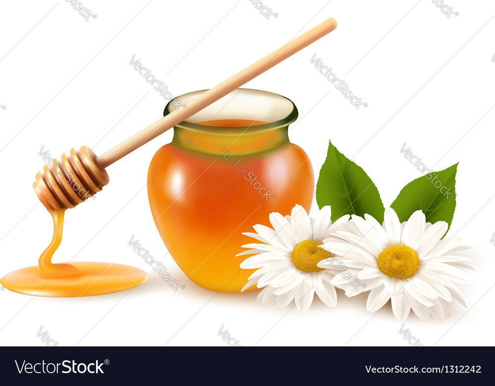 Jar of honey and a dipstick with flower vector | Price: 3 Credit (USD $3)