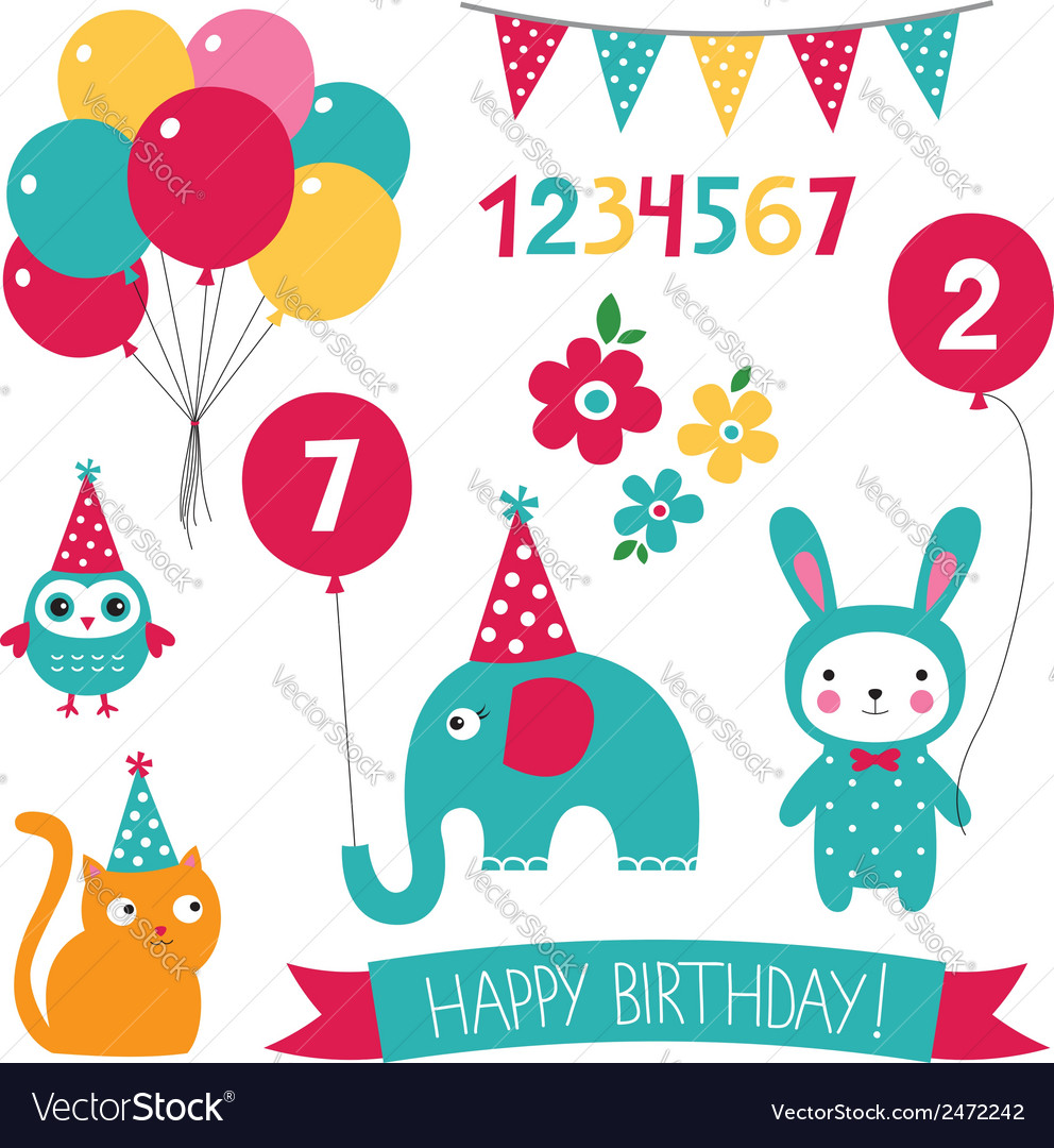 Kid birthday set vector | Price: 1 Credit (USD $1)