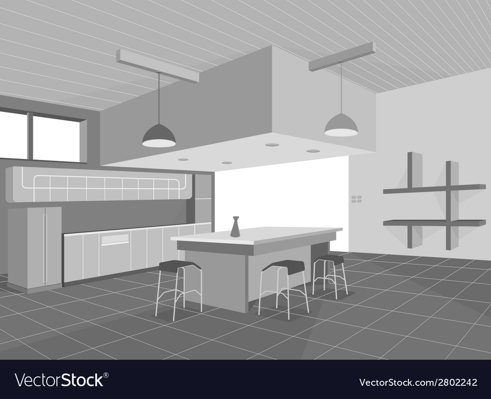 Kitchen layout vector