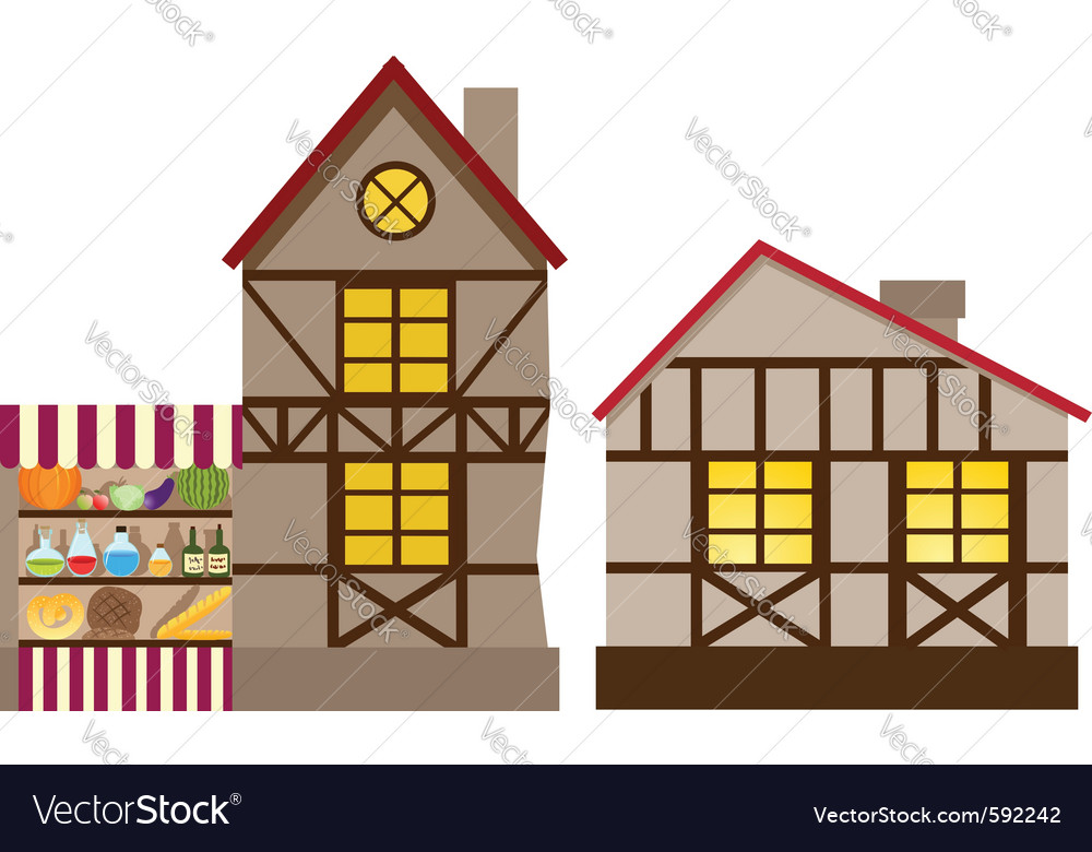 Medieval house and shop vector | Price: 1 Credit (USD $1)