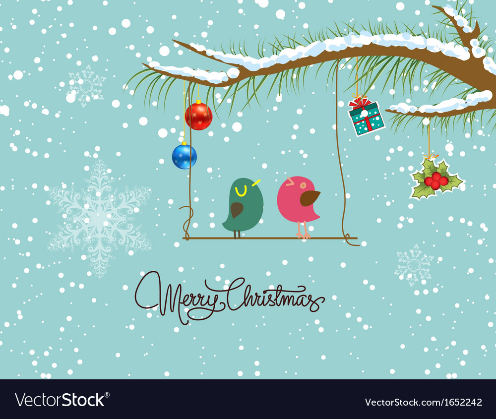 Merry christmas card with two bird vector | Price: 1 Credit (USD $1)