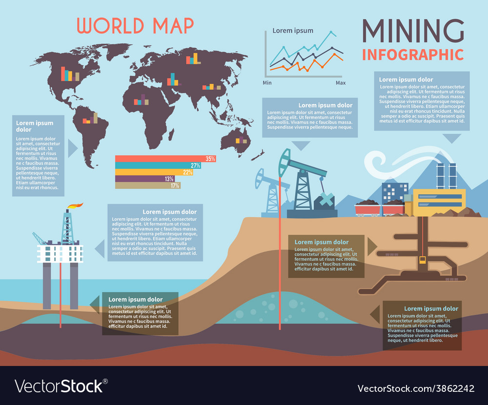 Mining infographics set vector | Price: 1 Credit (USD $1)