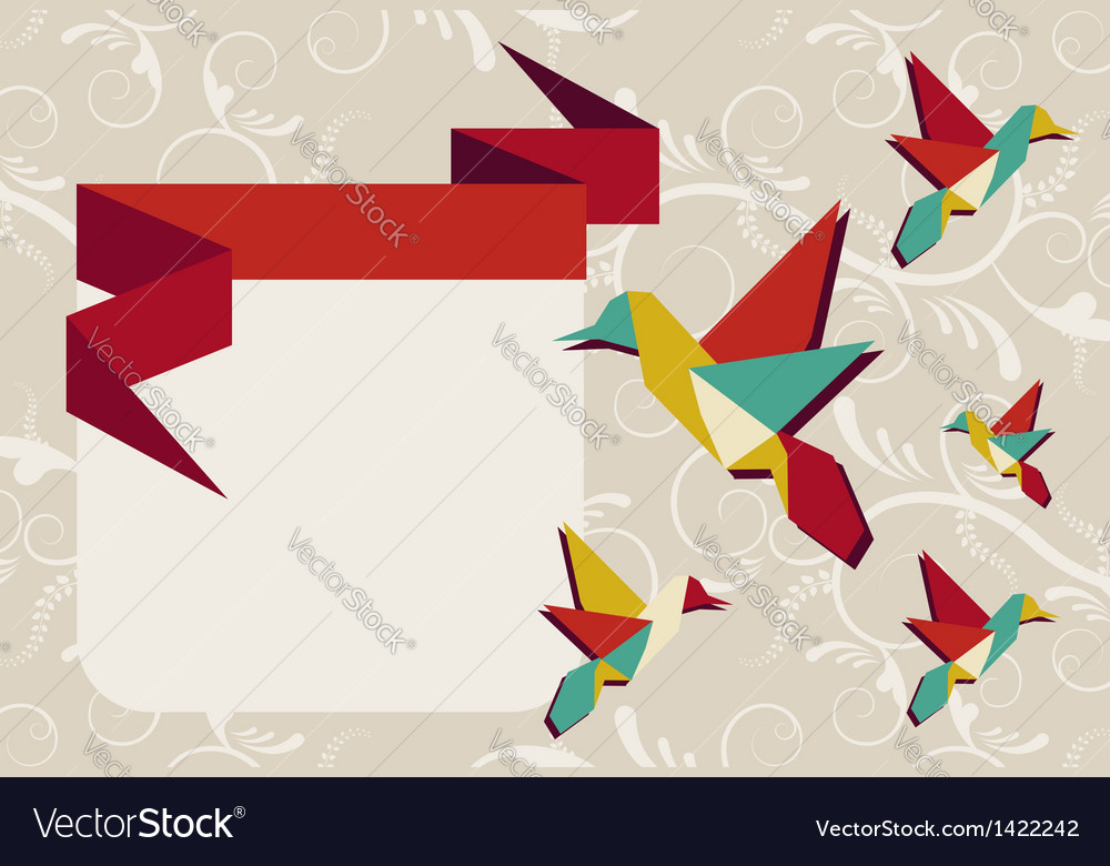 Origami hummingbird group greeting card vector | Price: 1 Credit (USD $1)