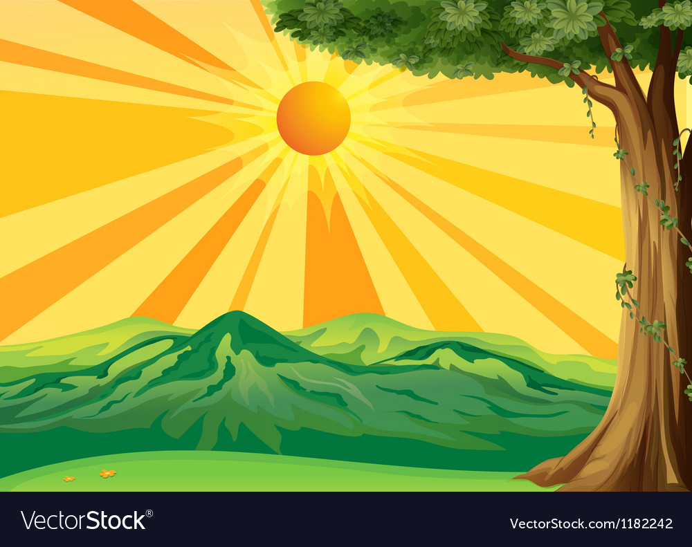 Sunrise view vector | Price: 1 Credit (USD $1)